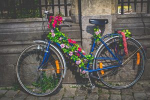 Bike covered by flowers in Ghent