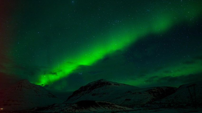 Northern Lights over the hills