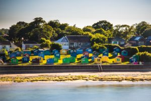 Colourful beach huts near Bembridge