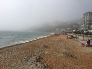 Ventnor Beach covered by fog
