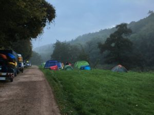 Biblins Campsite covered in fog
