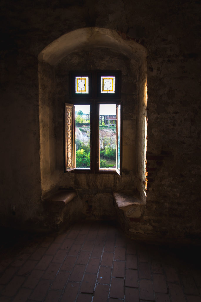 Through one of the castle's windows