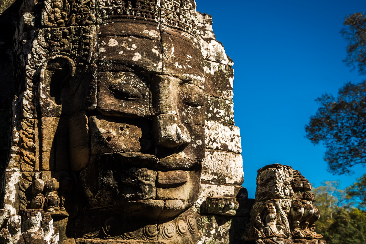 One of many faces at Bayon