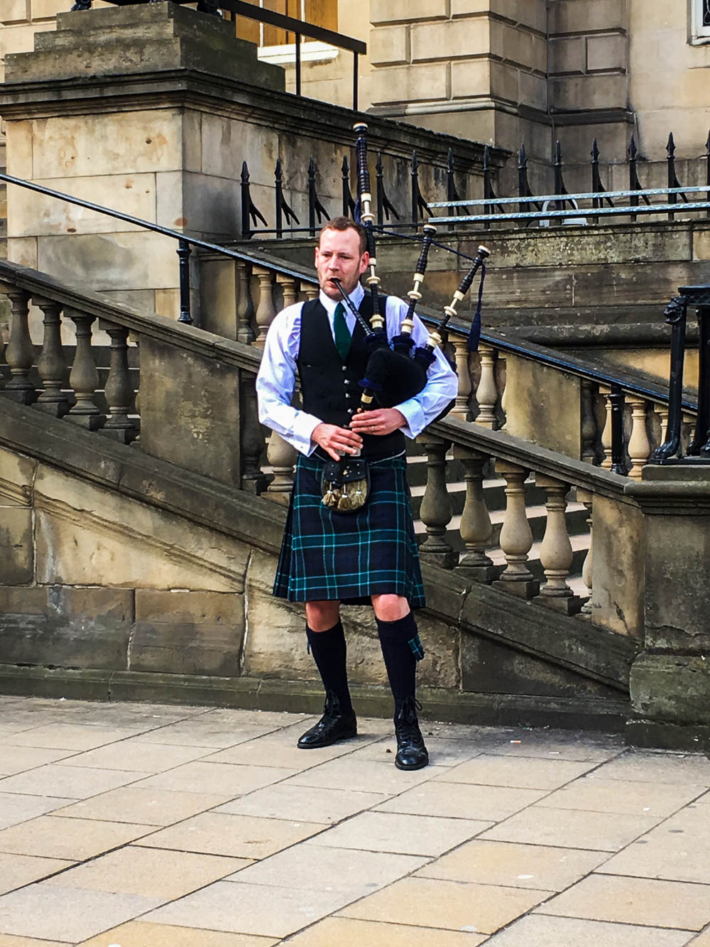Scottish man and a bagpipe